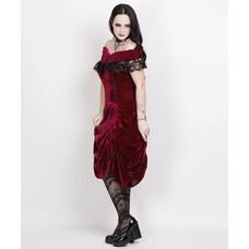 Vintage Goth Burlesque Burgundy Velvet Shoulder Drape Dress