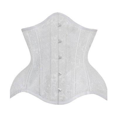 Vintage Goth White Brocade Underbust Curvy Waist Training Corset