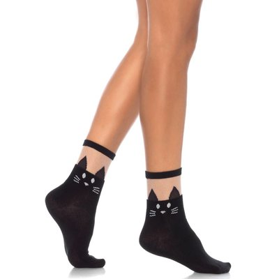 Leg Avenue Black Cat Opaque Anklets w/ Sheer Tops