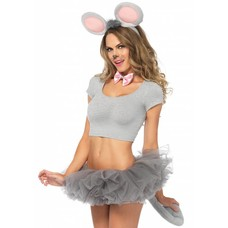 Leg Avenue 3 Pc Grey Mouse Ears, Bow Tie, Tail