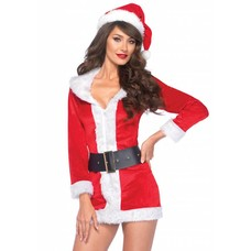 Leg Avenue Secret Santa 3 Pc Velvet Dress, Hat & Belt - XL
