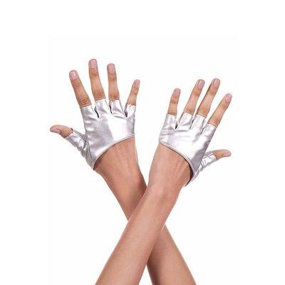 Music Legs Short Silver Metallic Fingerless Stretch Gloves