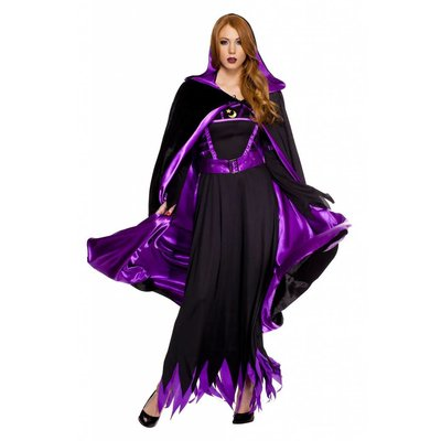 Music Legs Reversible Velour Full Length Cape  Black/Purple