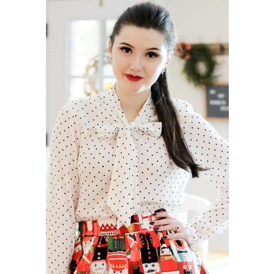 Retrolicious White Polka Dot Long Sleeve Bow Top
