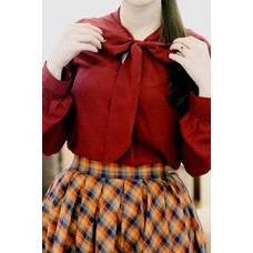 Retrolicious Wine Red Long Sleeve Bow Top