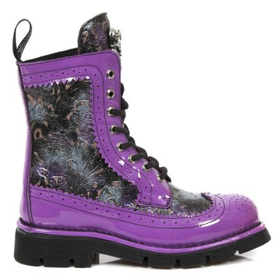 New Rock Shoes Wing Tip Boots, Tooled Upper Purple/Multi 38 (Women's 7)