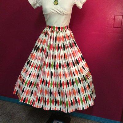 Mid Century Multi Diamonds Full Gathered Skirt