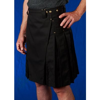 StumpTown Kilts Men's Black Kilt w/ Antique Brass Rivets