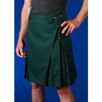 StumpTown Kilts Men's Green Kilt w/ Antique Brass Rivets