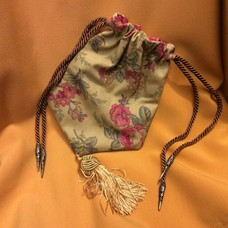 Gold Garden Cuttings Print Reticule w/ Yellow Knotted Tassel (518)