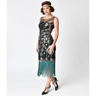 Unique Vintage Antoinette Black Teal Flapper Dress
