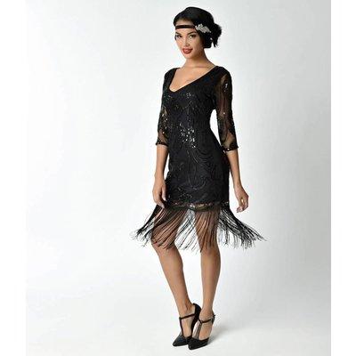 Unique Vintage Margaux Black Sequined Dress w/ Sheer Sleeves