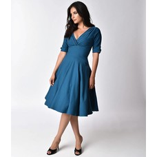 Unique Vintage Delores Dress, Blue