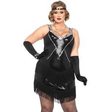 Leg Avenue Glamour Flapper Dress & Headband Blk/Silv