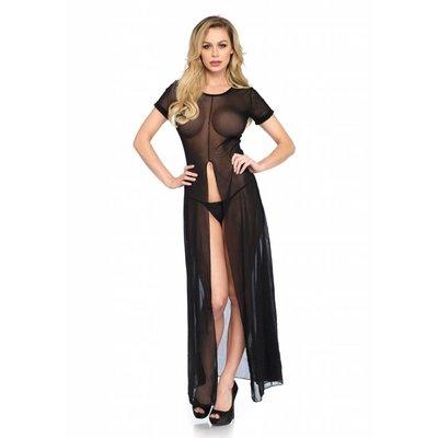Leg Avenue Sheer Mesh High Slit Long Dress