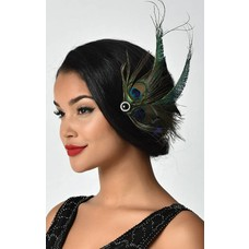 Unique Vintage UV Peacock Feather & Black Veil Hair Clip