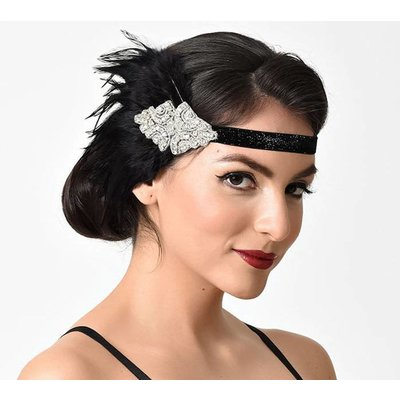 Unique Vintage UV Black Coque Feather & Silver Rhinestone Headband