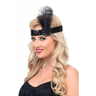 Unique Vintage Black Sequin & Feather Stretch Headband