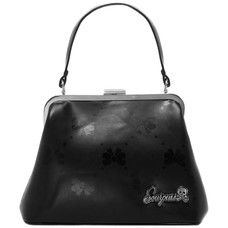 Sourpuss Bow Print Betsy Purse, Black Embossed Vinyl