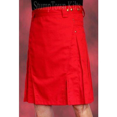 StumpTown Kilts Men's Red Kilt w/Antique Brass Rivets