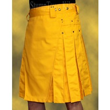 StumpTown Kilts Men's Yellow Kilt w/Antique Brass Rivets