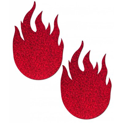 Pastease Red Glitter Flame Nipple Pasties