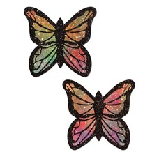 Pastease Monarch: Glitter Pastel Rainbow Butterfly Nipple Pasties