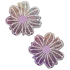 Pastease Wildflower: Lilac Glitter and Purple with White Flower Nipple Pasties