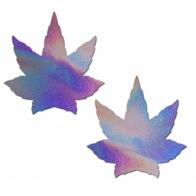 Pastease Indica Pot Leaf: Lavender Holographic Weed Nipple Pasties