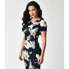 Unique Vintage Navy & Magnolia Stretch Mod Wiggle Dress