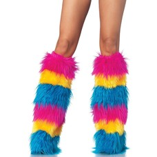 Leg Avenue Striped Neon Furry Leg Warmers