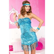Music Legs Strapless Sequined Dress, Blue