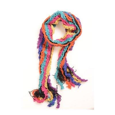Yelete Multi Ruffle Knit Pink-Orange-Navy Scarf