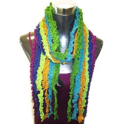 Yelete Multi Ruffle Knit Purple-Blue-Green Scarf