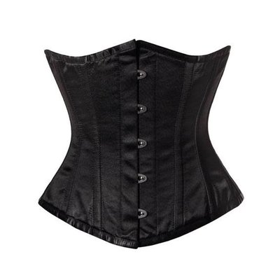 Vintage Goth Aislinn Black Crepe Satin Underbust Corset - 28