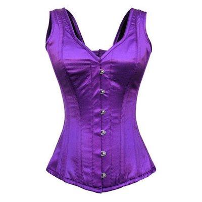 Vintage Goth Vest-Style Gothic Purple Satin Overbust Corset - 26