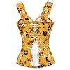 Vintage Goth Yellow Cotton Floral Print Overbust w/ Shoulder Straps - 26 (L)