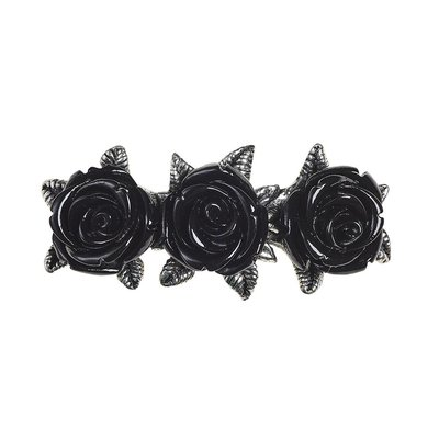 Alchemy England 1977 Wild Black Rose Hair Slide