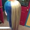Longer Straight Cali Blonde Wig w/ Rainbow Front & Underswirl