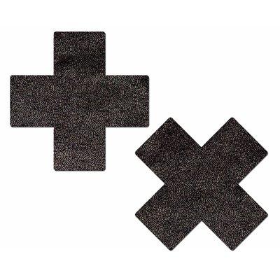 Pastease Plus X: Liquid Black Cross Nipple Pasties
