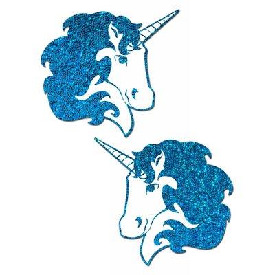 Pastease Unicorn: Turquoise Glitter Unicorn on White Nipple Pasties