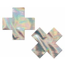 Pastease Plus X: Silver Holographic Cross Nipple Pasties