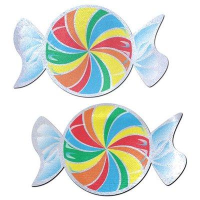 Pastease Candy: Rainbow Swirl on White Nipple Pasties