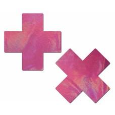 Pastease Plus X: Holographic Bubblegum Pink Cross Nipple Pasties