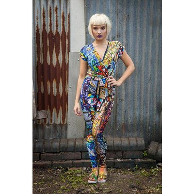 Get Crooked Stained Glass Cross-Front Jumpsuit