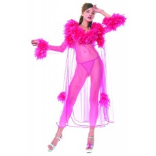 Music Legs Feathered 3 Pc Sheer Robe + Gown+ Thong, Hot Pink