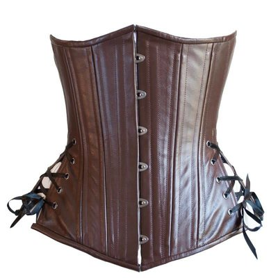 Timeless Trends Brown Leather Long Corset