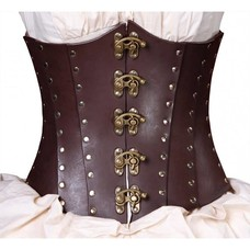 Timeless Trends Hard Brown Leather Corset
