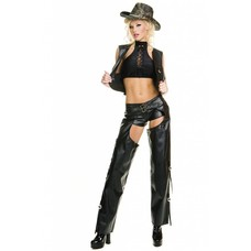 Music Legs 2 pc Black Faux Leather Chaps & Vest Outfit