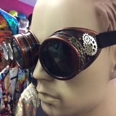 Bronze Goggles w/ Dbl Lens Loupe, Brass Knob, Gears (283)